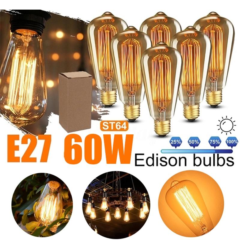 3/6/12 шт Ретро Edison led светильник лампочка E27 110V 220V 60W ST64 нити Винтаж ампулы лампа накаливания Эдисона лампа