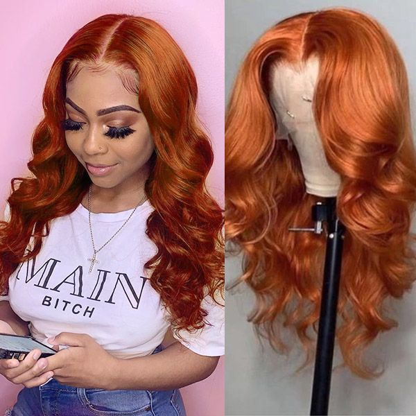 Ombre Wig Ginger Orange Body Wave & Straight Virgin Human Hair Lace Front Wig With Baby Hair 180 Density