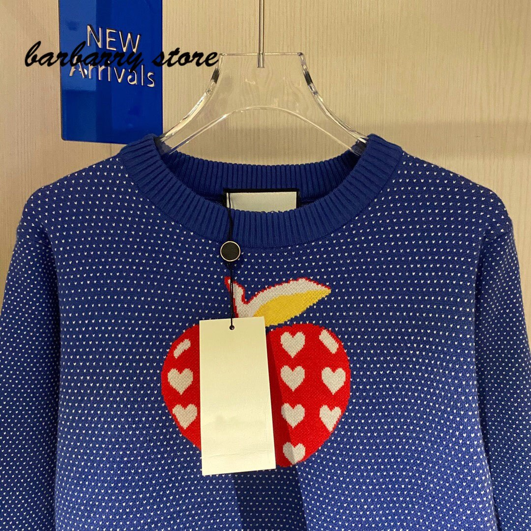 2021 luxury brand jacquard peach heart Apple printing fashion women's top temperament round neck versatile long sleeve Pullover enlarge