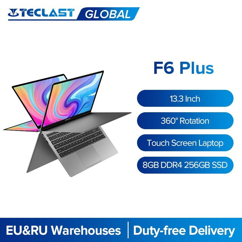 Teclast Laptops F6 Plus 13.3 Inch Notebook Gemini Lake 8GB LPDDR4 256GB SSD Windows 10 Laptop 360 Ro