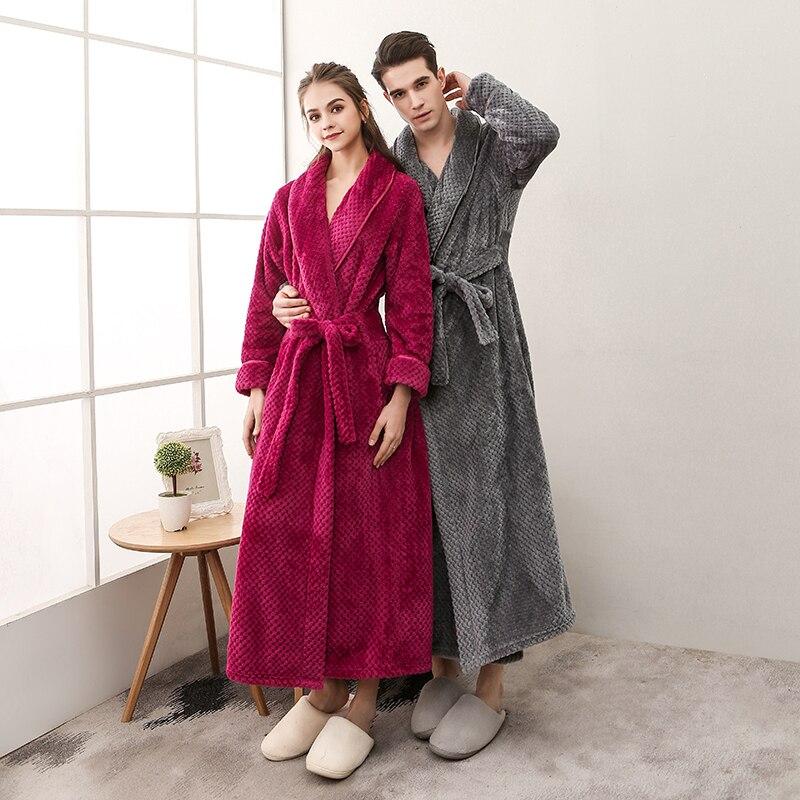 Batas de baño de franela para otoño e invierno, pijamas de longitud completa, bata de noche barata para novio y novia de Bedgown