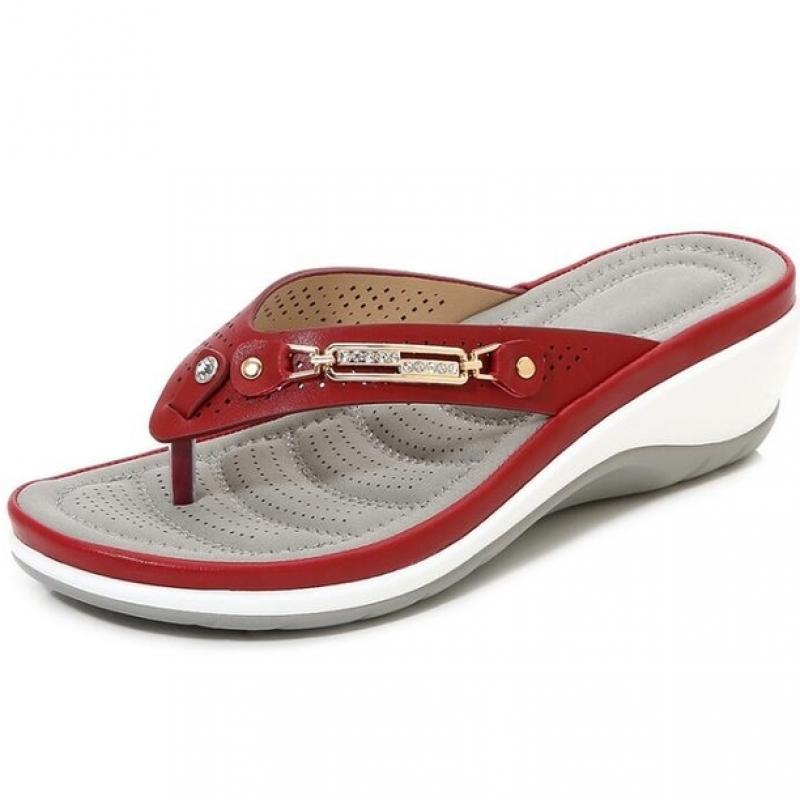 2021 Women's Slippers Summer New Fashion Metal Button Slides Shoes Wedge Beach Sandals Women Outside Platform Leisure Flip Flops