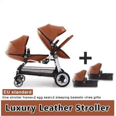 Free Shipping Eggshell high-end twins stroller Luxury Twin Baby Stroller High Landscape Pram Folding Carriage