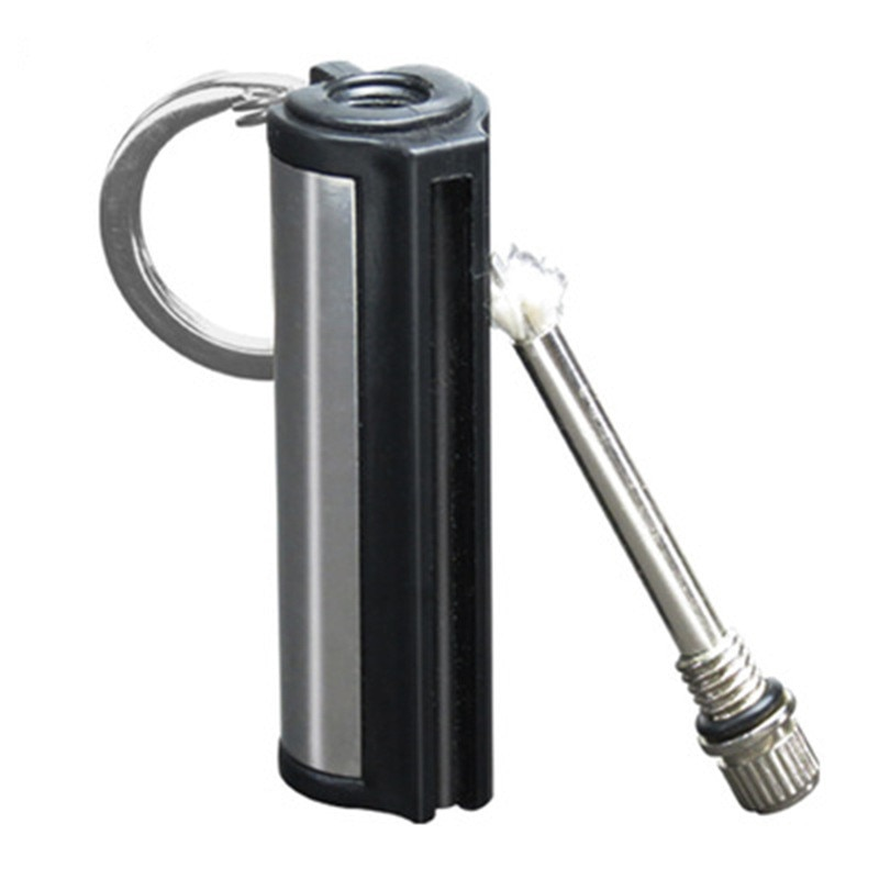 1/2/5pc Outdoor Fashion Permanent Striker Lighter Match Waterproof Portable Lighter Bottle Keychain With Cotton Core Containing