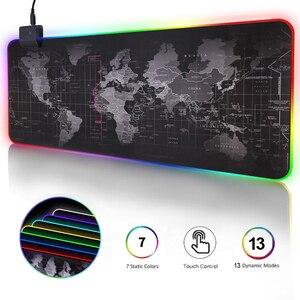 Игровой коврик для мыши, RGB компьютерный коврик для мыши, большой игровой коврик для мыши XXL, коврики для мыши со светодиодсветодиодный подсветкой, коврик для игр 900x400, Настольный коврик для CS LOL