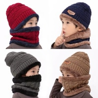2019 новые зимние детские вязаные комплекты кольцо для шляпы Шарф брюками; Комплекты детской теплой одежды; Детские, утолщенные, вельветовые ...