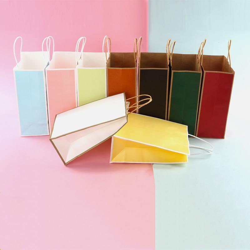 10 unids/lote bolsa de papel Kraft bolsa pequeña bolsa de regalo para hornear bolsa de té para llevar bolsa de ropa de compras