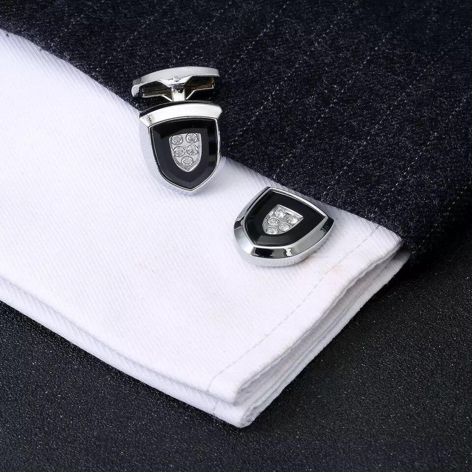2019 Francia elegante hombres moda escudo diseño plata esterlina camisa gemelos joyería lujo novio gemelos regalo de abogado