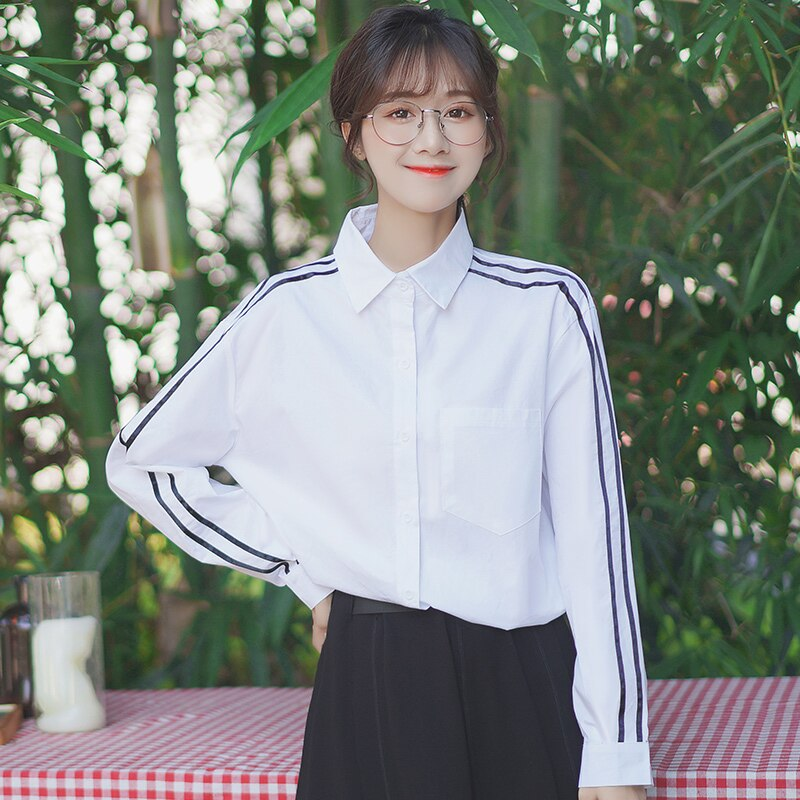 Chic Khaki 2021 New Striped Base Shirt Women's Spring and Autumn Design Blouse Niche Student Polo Co