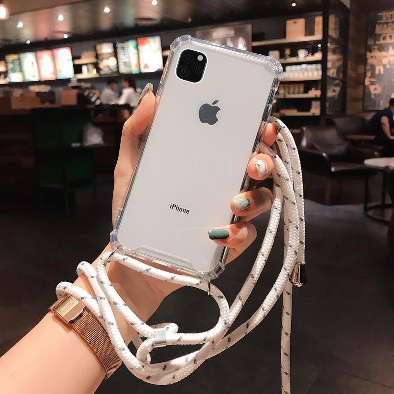 Para iPhone 11 Pro 2019 X XR XS Max 6 6S 7 8 Plus se 2020 se2 funda de teléfono de silicona con cordón collar hombro cuello correa cubierta