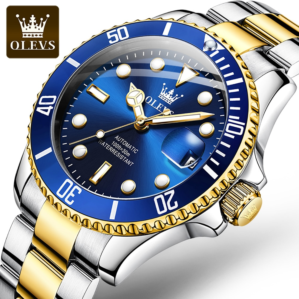 OLEVS Luxury Automatic Mechanical Watches Mens Waterproof Stainless Steel Wristwatch Green Water Ghost Watch Dropshipping 2021