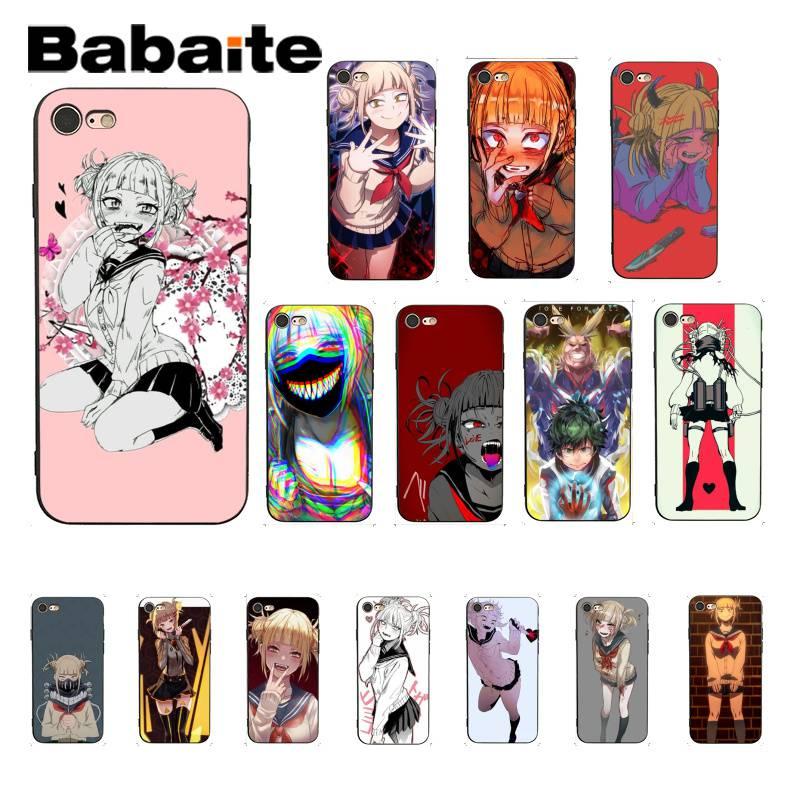 Funda de móvil de TPU negra Babaite My hero academia Himiko Toga para iPhone 8 7 6 6S Plus X XS MAX 5 5S SE XR
