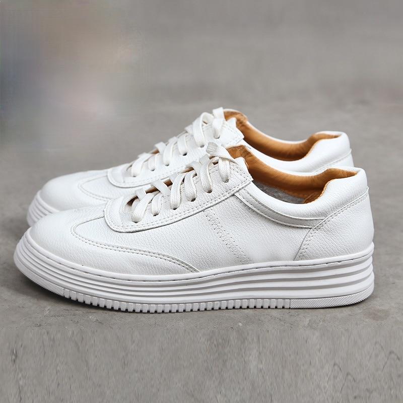 موضة الأبيض انقسام الجلود النساء أحذية رياضية مكتنزة حذاء أبيض الدانتيل يصل تنيس Feminino Zapatos دي موهير منصة النساء حذاء كاجوال