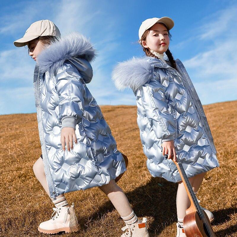 Модная зимняя детская блестящая куртка 2021 парка с мехом и капюшоном для девочек детская теплая куртка подходит для подростков