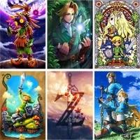 Daimond     peinture de Zelda  broderie complete 5d  a faire soi-meme  en diamant  homme et fille  elfe  point de croix  strass  decoration dinterieur  bricolage