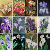 diy full drill diamond embroidery painting purple orchid floral diamond mosaic cross stitch art set home decoration crafts gifts