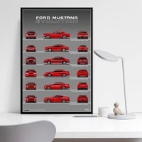 ford mustang 50th anniversary car evolution chart muscle art painting silk canvas poster wall home decor