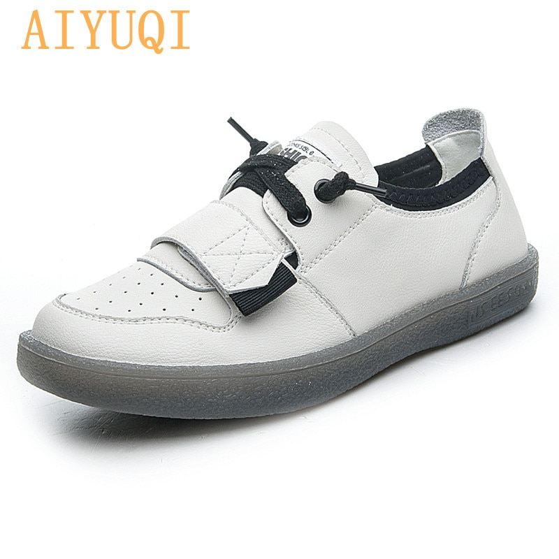 Genuine Leather Women Sneakers 2021 Spring New Casual Soft Sole Shoes Women Large Size Women's Shoes