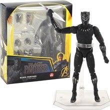 16cm Avengers Super Hero Black Panther 091# Movable Figurine PVC Action Figure Model Toy