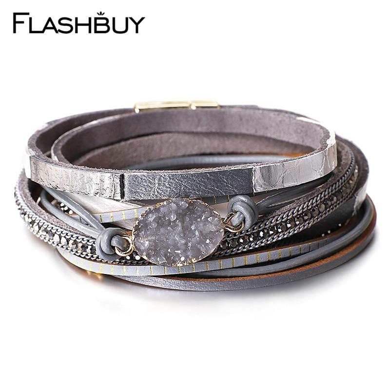 Flashbuy pedra de cristal natural multicamadas couro oval pulseira para mulheres unissex jóias charme couro bohemia wrap pulseiras