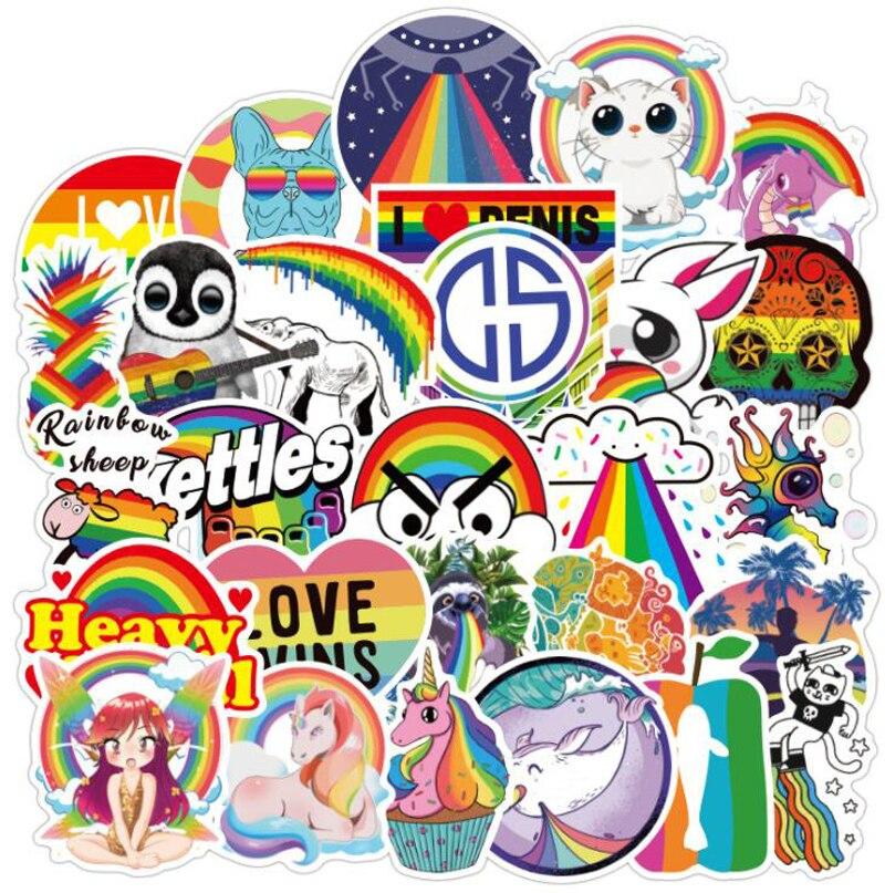 100 Uds Rainbow sticker Anime Icon Animal Cute calcomanías regalos para niños maleta para portátil guitarra nevera bicicleta Coche