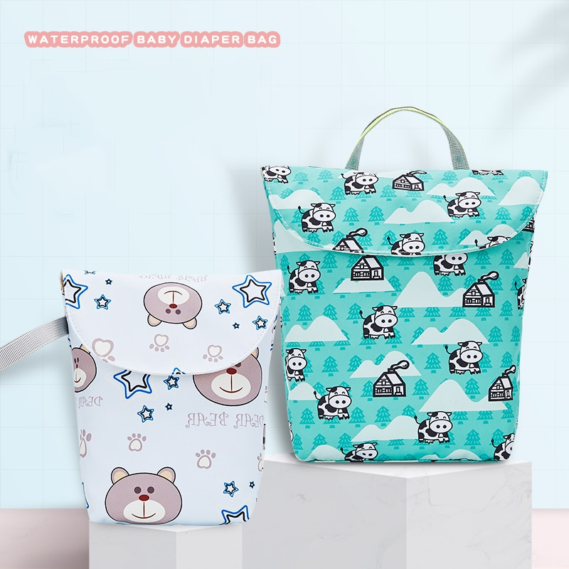Sac à couches pour maman 25*16cm   Petit sac à couches de voyage, sacs étanches et humides pour le rangement de maman, accessoires de poussette