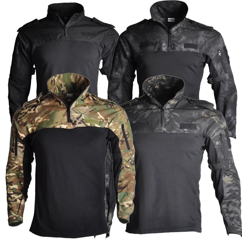 ملابس الجيش قميص القتال التكتيكي العسكرية التنزه تي شيرت تاتيكو بلايز Airsoft متعددة حدبة التمويه الصيد الصيد ملابس رجالي