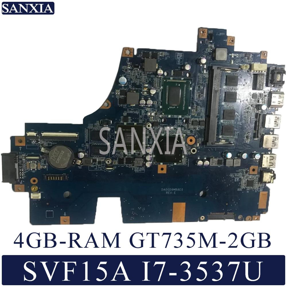 Placa base de ordenador portátil KEFU DA0GD6MB8E0 para SONY SVF15A SVF15 placa base original 4GB-RAM I7-3537U GT735M-2GB