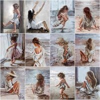 chenistory painting by numbers seaside girl kits drawing canvas handpainted home decor diy oil pictures by numbers figure