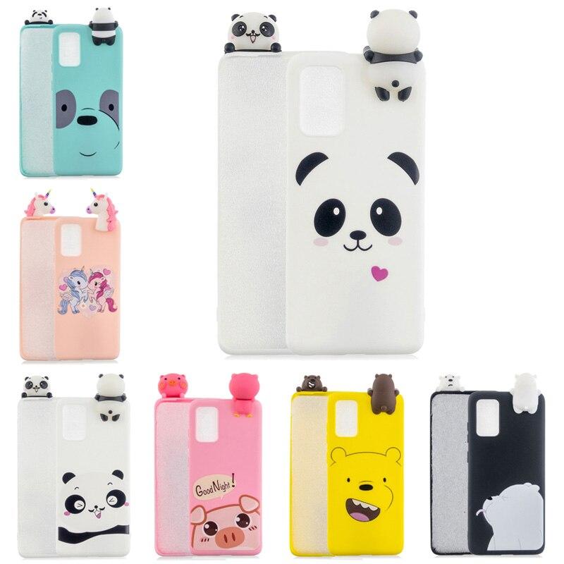 Bonito porco gato panda urso 3d macio silicone tpu caso para coque samsung s20 ultra s8 s9 s10 s20 nota 10 9 8 plus s10e s7 edge caso