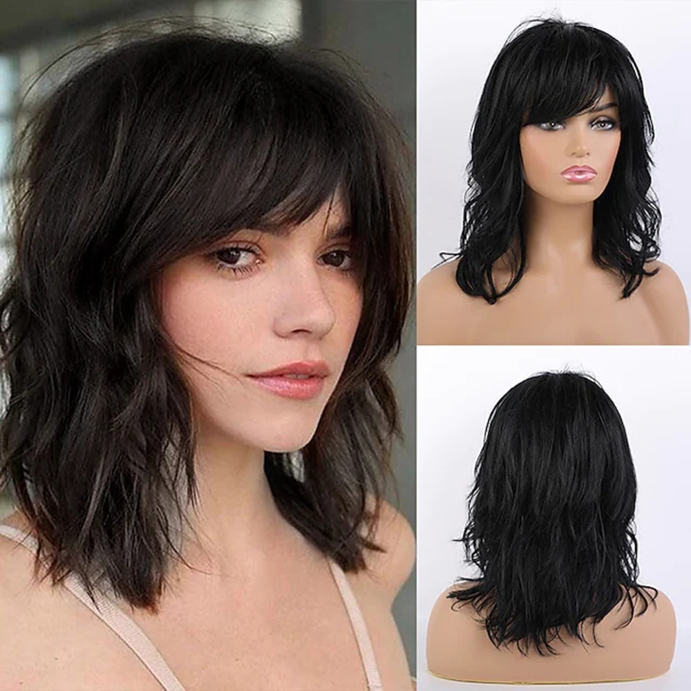 layered tail adduction long oblique bang siv human hair wig Remy Human Hair Blend Wig Long Curly Layered Haircut Side Part With Bangs Black Women Natural Hairline Bob Wig with Bangs