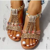 Сандалии женские на платформе, богемные босоножки на танкетке, Гладиаторы с кристаллами, Повседневная пляжная обувь в римском стиле, с элас...