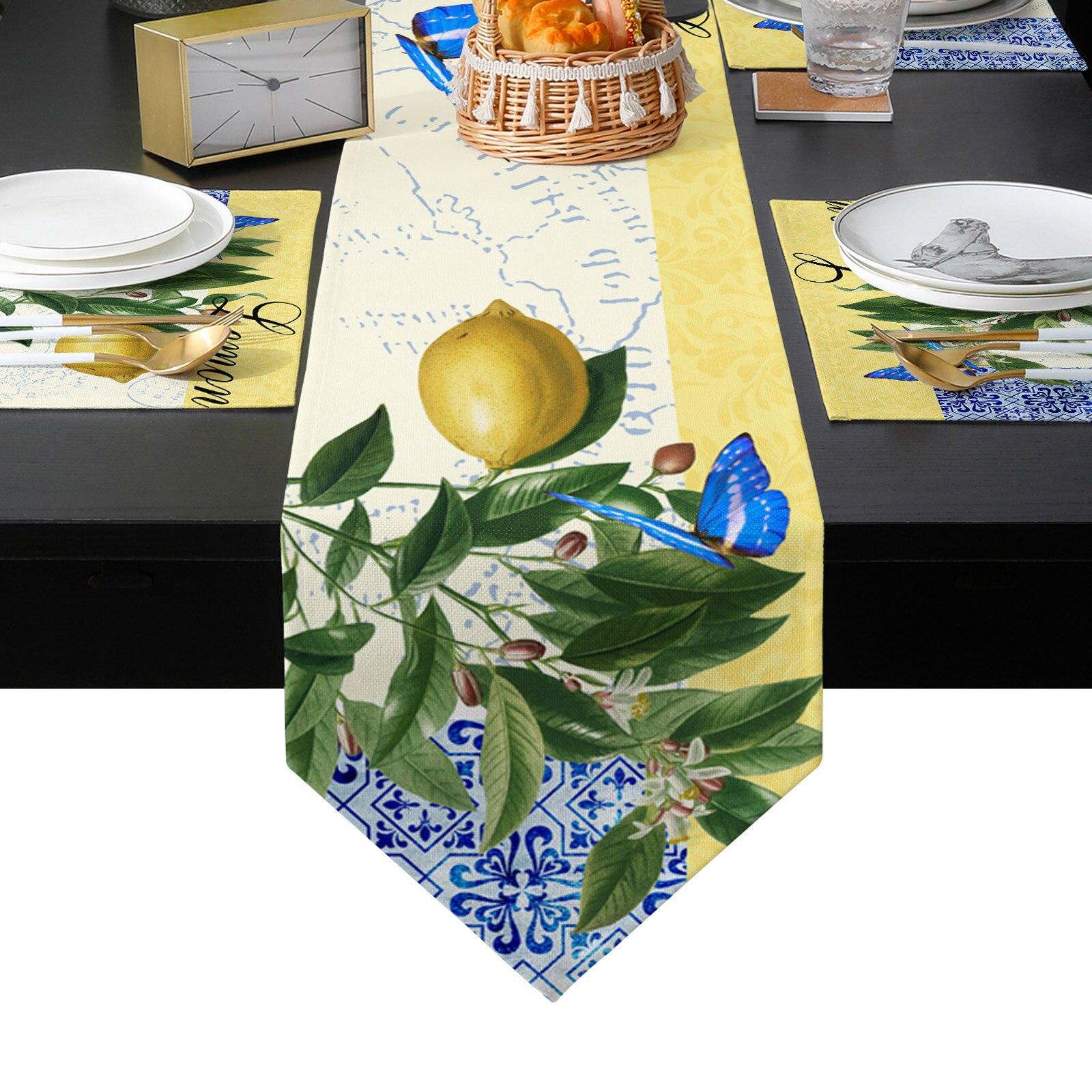 المغربي نمط فراشة الليمون الجدول عداء تحديد الموقع مجموعة مفرش طاولة طعام حصيرة المنزل الزفاف الجدول الديكور