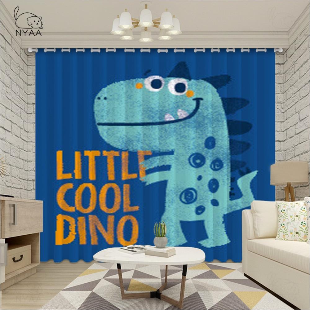 Cortinas de dinosaurios para habitación de niños, cortinas de dibujos animados para habitación de niños, bonitas cortinas de ventana para dormitorio de niños, microsombreado ultrafino