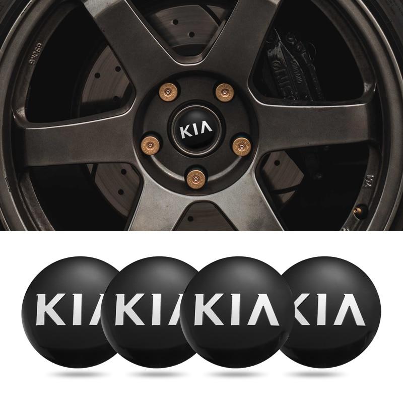4 pçs 5.6cm cubo centro da roda do carro tampas emblema adesivo acessórios para kia rio optima sportage ceed cerato alma picanto venga niro