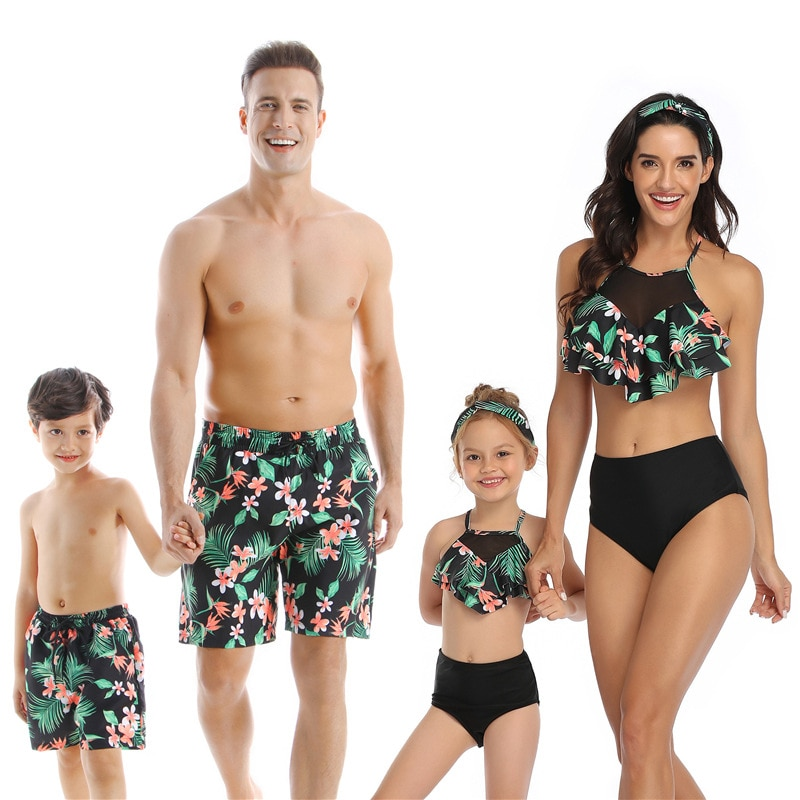 2020 Summer Family Swimsuit Mommy and Me Clothes Mom Father Son Mother and Daughter Bikini Beach Sho