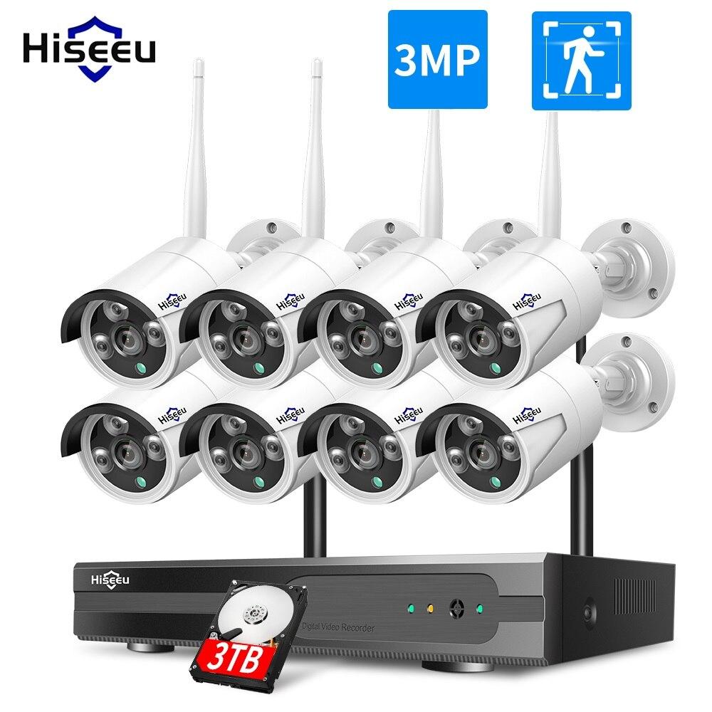 3MP 1536P CCTV 8CH Wireless NVR kit 3MP 3TB 1080P Outdoor IR Night Vision IP Wifi Camera Security System Surveillance Hiseeu kit