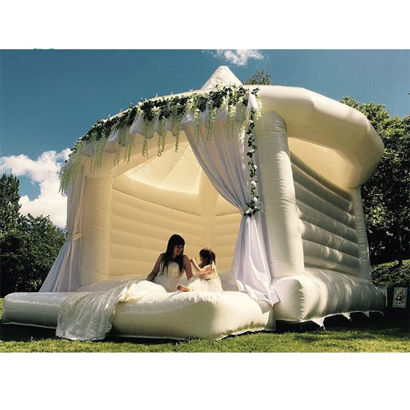 Free Air Shipping To Door White Inflatable Wedding Jumper Bouncer Castle /Jumping Bed/Bouncy Bounce House  And Trampoline Tent