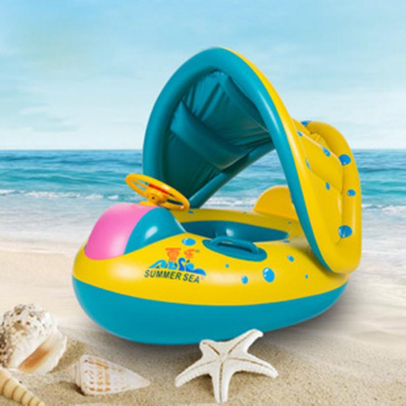 Bebé inflable natación anillo portátil niño pequeño bebé Toddle natación anillo sol toldo con dosel círculo seguro boya inflable