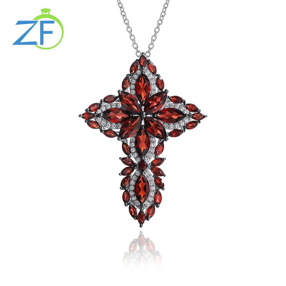 Get GZ ZONGFA Men and Women Garnet Cross Rhodium plated red Gem Pendant S925 sterling silver Necklace Jewelry