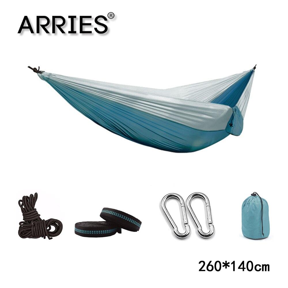 Hamaca portátil de paracaídas 270*140, hamaca de supervivencia para acampada, jardín, Flyknit, caza, ocio, hamaca para dormir