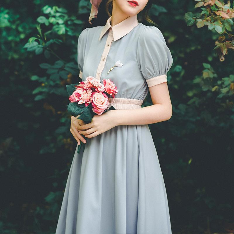 Sweet Lolita French Retro Girl Maid College Contrast Dress Bubble Sleeve High Waist Dress Summer Fresh Fairy dress
