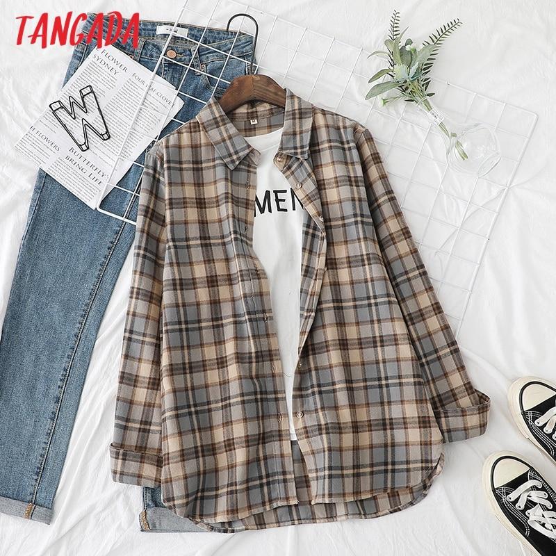 Tangada 2021 Women Boyfriend Plaid Print 100 Cotton Shirt Blouse Long Sleeve Chic Female Casual Loose Tops XQ06