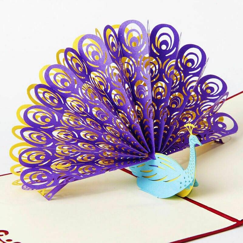 15CM * 15CM 3D Up tarjeta de felicitación estilo Pavo Real papel nvitation tarjeta de felicitación Festival regalos para boda fiesta de cumpleaños