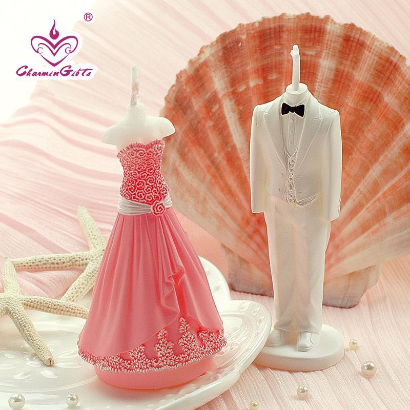 2 шт./пара в виде жениха и невесты смокинг платье свечи Свадебная вечеринка день