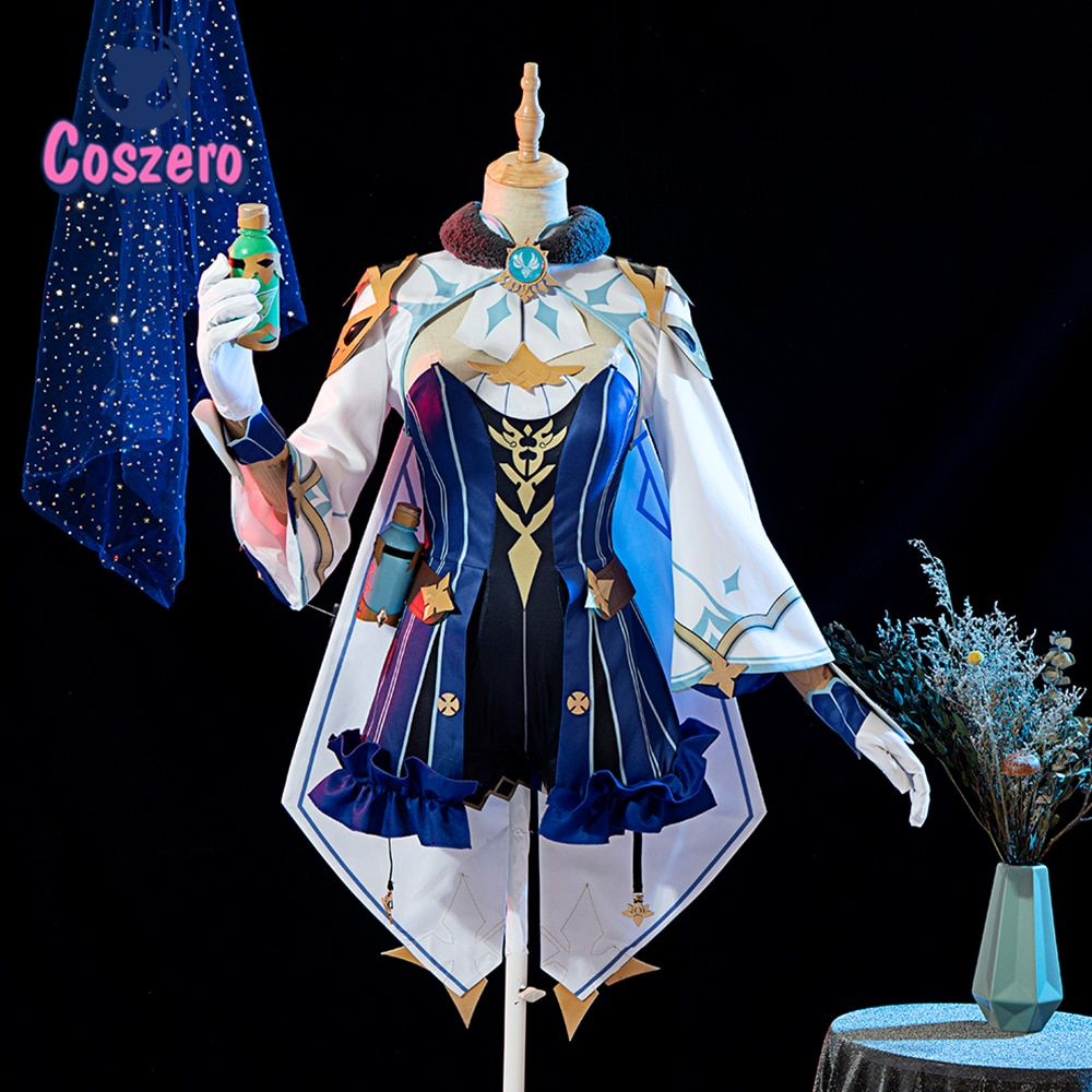 Genshin Impact Sucrose Cosplay Costume Harmless Sweetness Women Cute Dress Top Pants Halloween Carnival Uniform Shoes Wigs