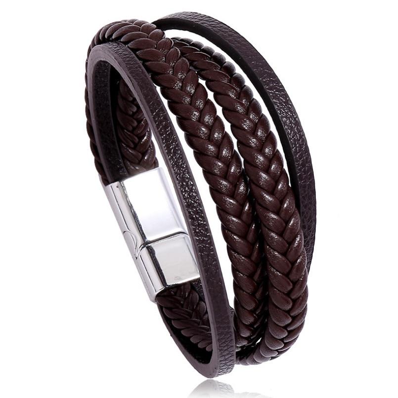 Brazalete de cuero multicapa Punk Rock para pulseras Unisex trenzadas con cierre magnético brazalete pulsera Moda Gótica joyería