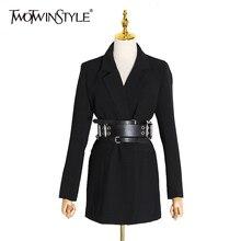 TWOTWINSTYLE Casual Slim kadın Blazers çentikli yaka uzun kollu yüksek bel tunik takım elbise için kadın moda 2020 giyim yeni