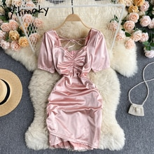 Yitimoky Lace Up High Waist Dresses Women Chain Puff Sleeve Square Collar Folds A-Line Pink 2021 Sum