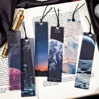 5 pcs pack Space Tour Series Bookmark PVC Reading Book mark dusk moon Book Page Marker Stationery Supplies